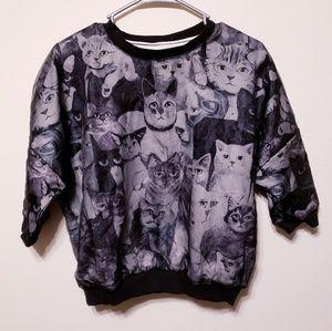 Hippy Indy cat crop top sweater